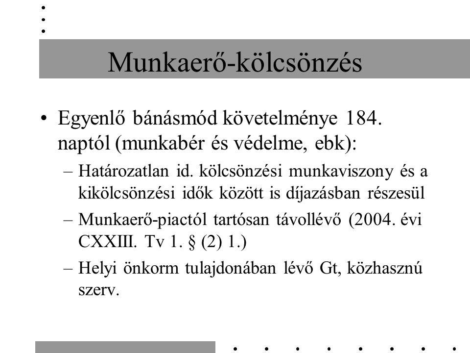 Munkaerő-kölcsönzés Egyenlő bánásmód követelménye 184. naptól (munkabér és védelme, ebk): –Határozatlan id. kölcsönzési munkaviszony és a kikölcsönzés