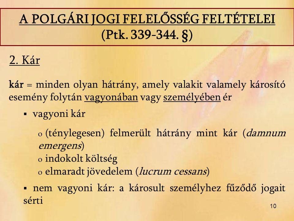 10 2. Kár A POLGÁRI JOGI FELELŐSSÉG FELTÉTELEI (Ptk.