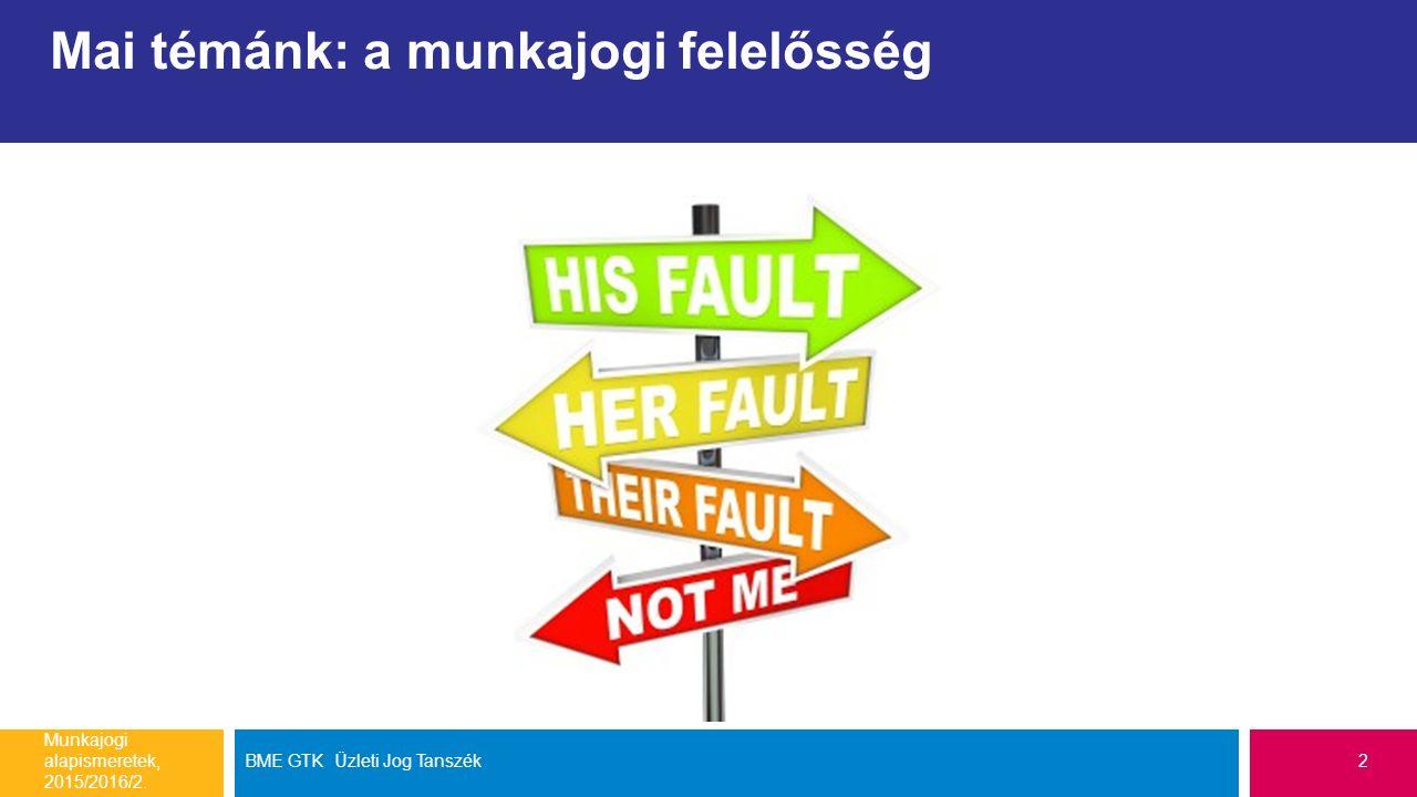 Mai témánk: a munkajogi felelősség Munkajogi alapismeretek, 2015/2016/2. BME GTK Üzleti Jog Tanszék2