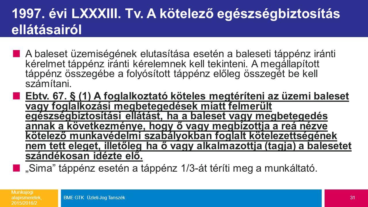 1997. évi LXXXIII. Tv. A kötelező egészségbiztosítás ellátásairól A baleset üzemiségének elutasítása esetén a baleseti táppénz iránti kérelmet táppénz