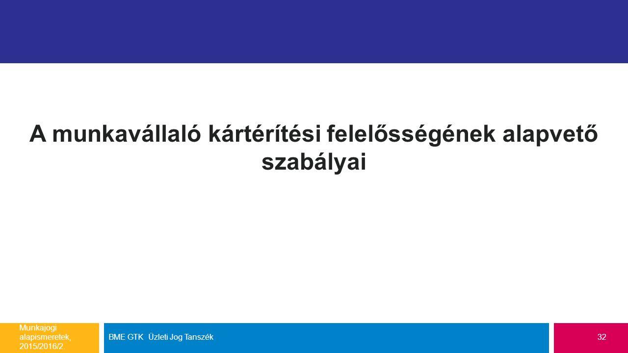 A munkavállaló kártérítési felelősségének alapvető szabályai Munkajogi alapismeretek, 2015/2016/2. BME GTK Üzleti Jog Tanszék32