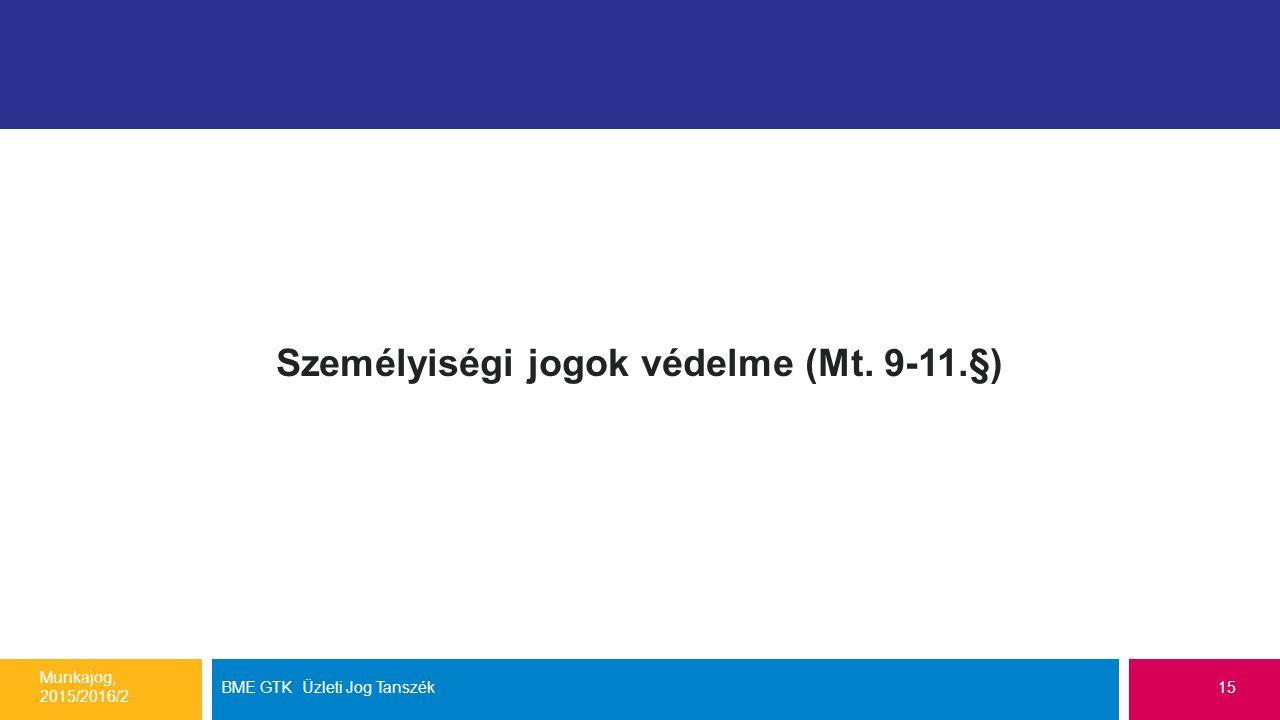 Személyiségi jogok védelme (Mt. 9-11.§) Munkajog, 2015/2016/2. BME GTK Üzleti Jog Tanszék15