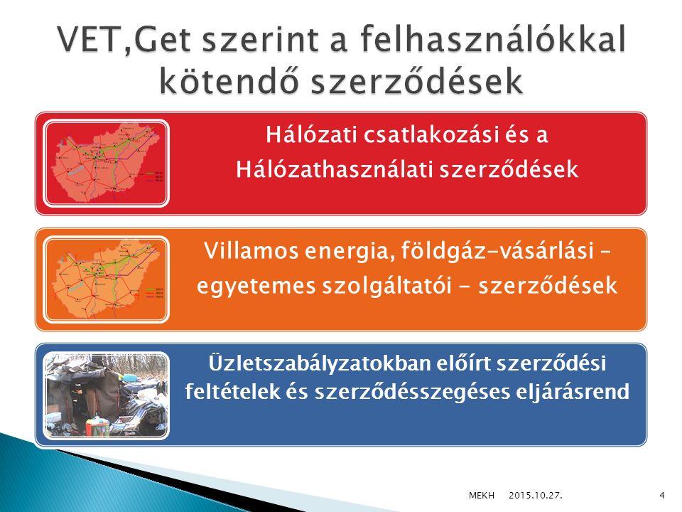Elosztói Engedélyesek Egyetemes szolgáltatók Csatlakozási és hálózathasználati szerződés Egyetemes szolgáltatói szerződés Felhasználók 2015.10.27.