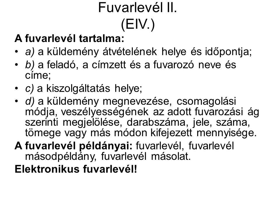 Fuvarlevél II.