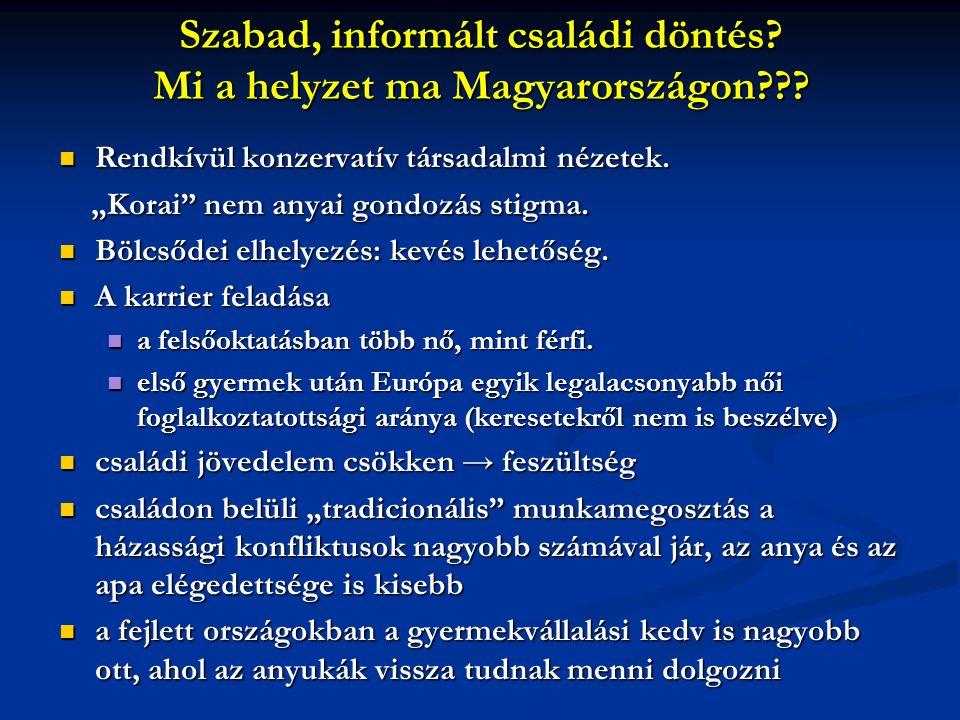 Szabad, informált családi döntés. Mi a helyzet ma Magyarországon??.