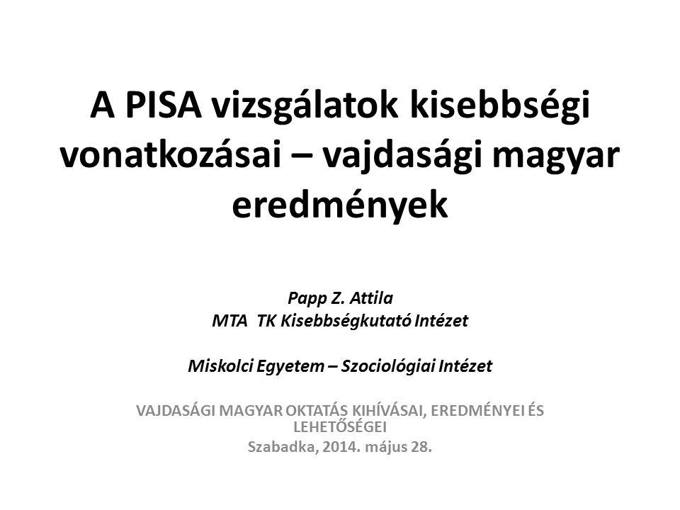 A PISA vizsgálatok kisebbségi vonatkozásai – vajdasági magyar eredmények Papp Z.