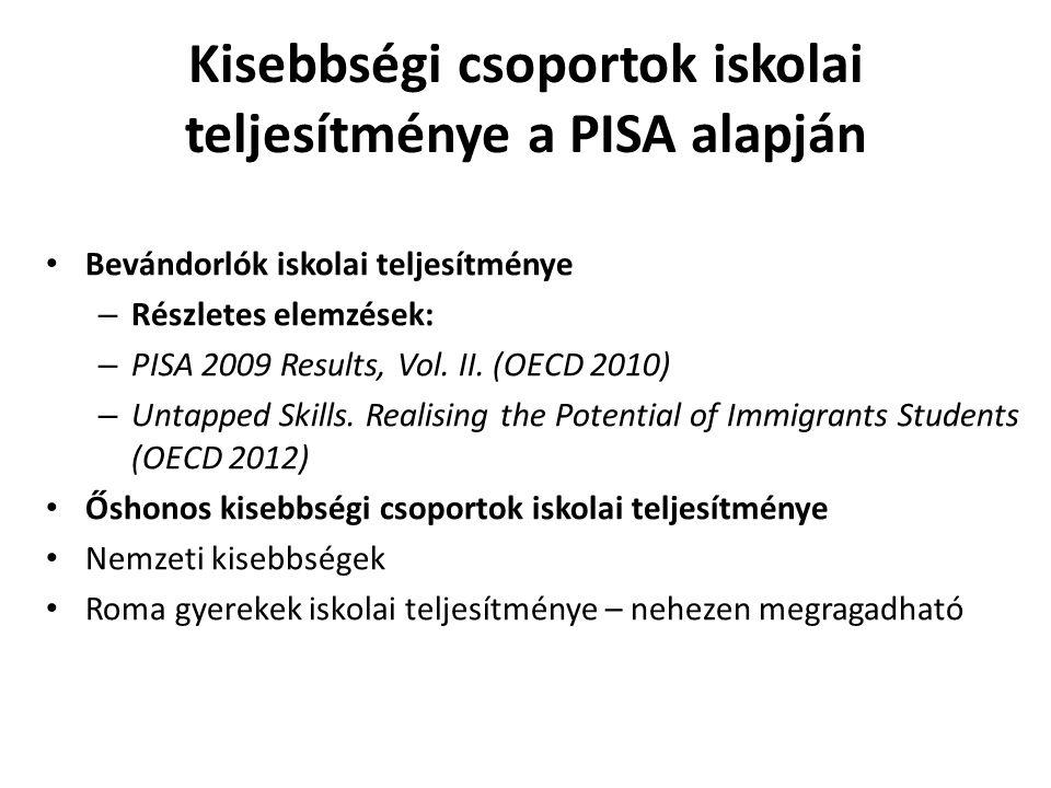 Kisebbségi csoportok iskolai teljesítménye a PISA alapján Bevándorlók iskolai teljesítménye – Részletes elemzések: – PISA 2009 Results, Vol.