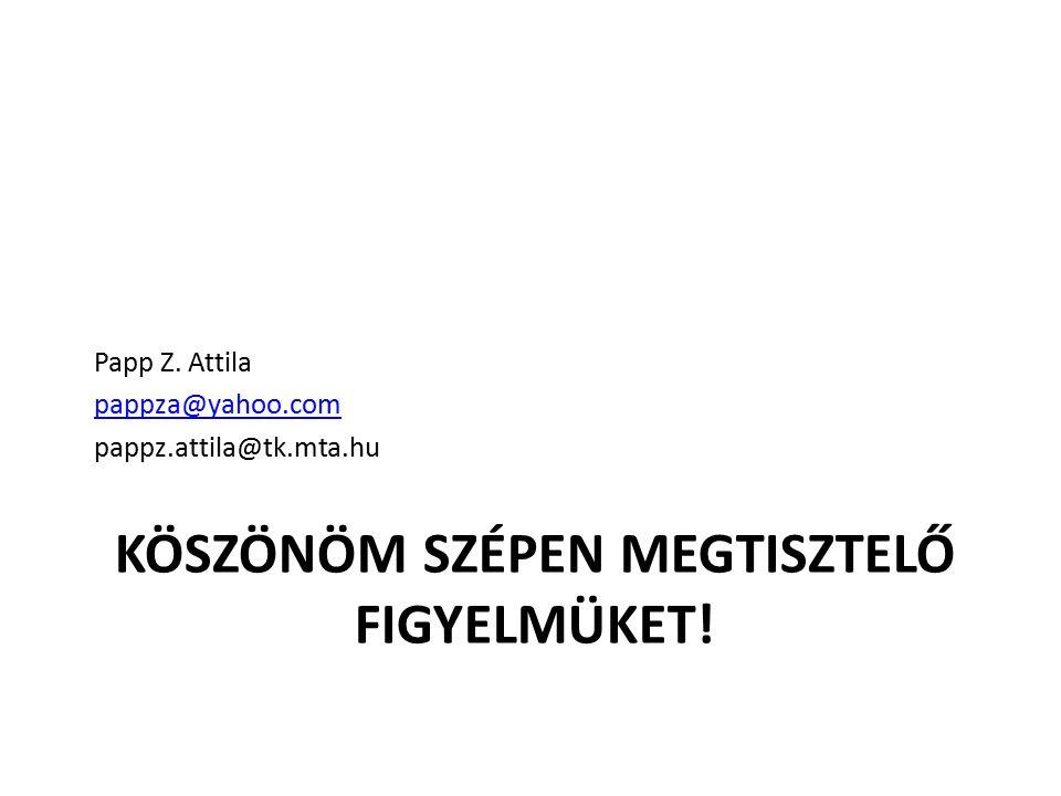 KÖSZÖNÖM SZÉPEN MEGTISZTELŐ FIGYELMÜKET! Papp Z. Attila pappza@yahoo.com pappz.attila@tk.mta.hu