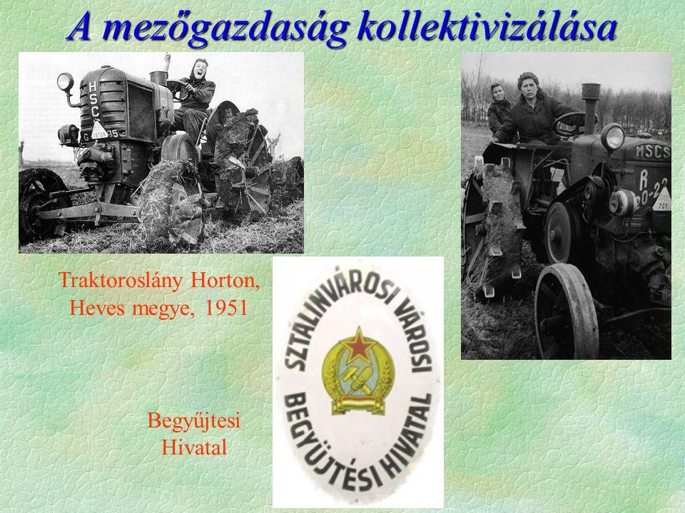 A mezőgazdaság kollektivizálása Traktoroslány Horton, Heves megye, 1951 Begyűjtesi Hivatal