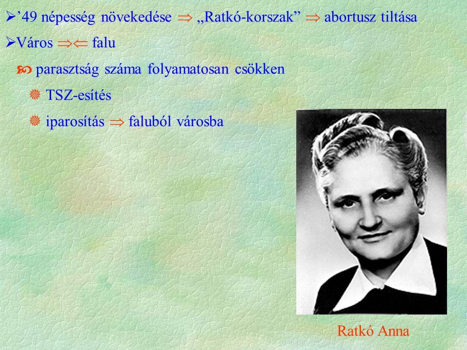 """ '49 népesség növekedése  """"Ratkó-korszak  abortusz tiltása  Város  falu  parasztság száma folyamatosan csökken  TSZ-esítés  iparosítás  faluból városba Ratkó Anna"""