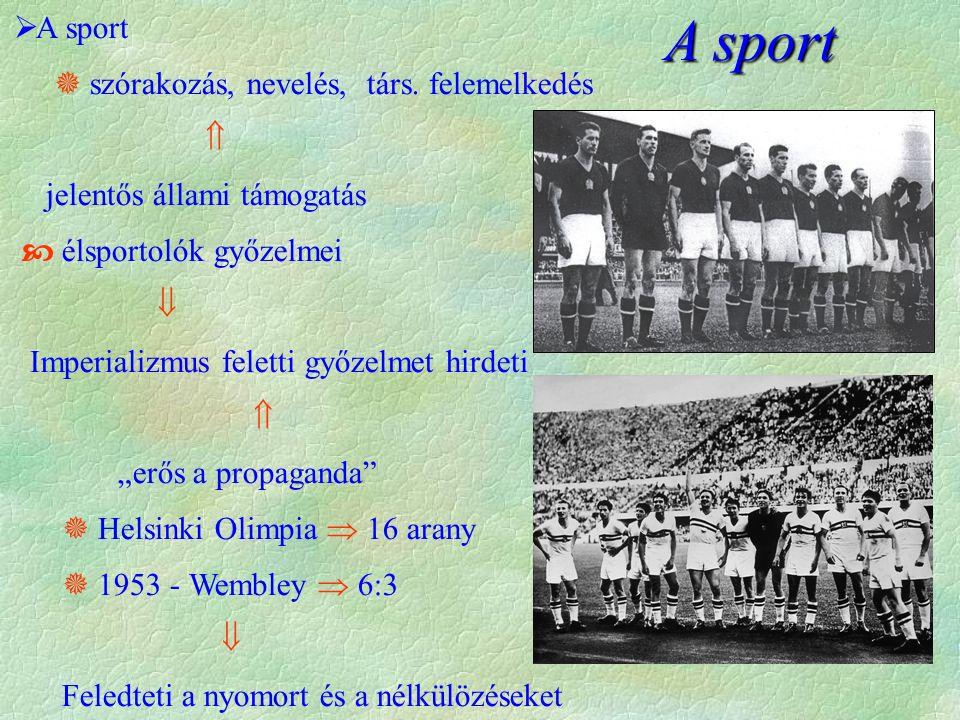 A sport  A sport  szórakozás, nevelés, társ.