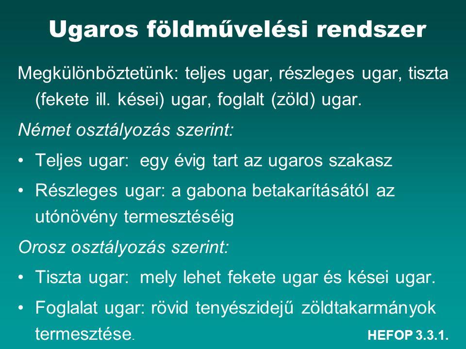 HEFOP 3.3.1. Ugaros földművelési rendszer Megkülönböztetünk: teljes ugar, részleges ugar, tiszta (fekete ill. kései) ugar, foglalt (zöld) ugar. Német