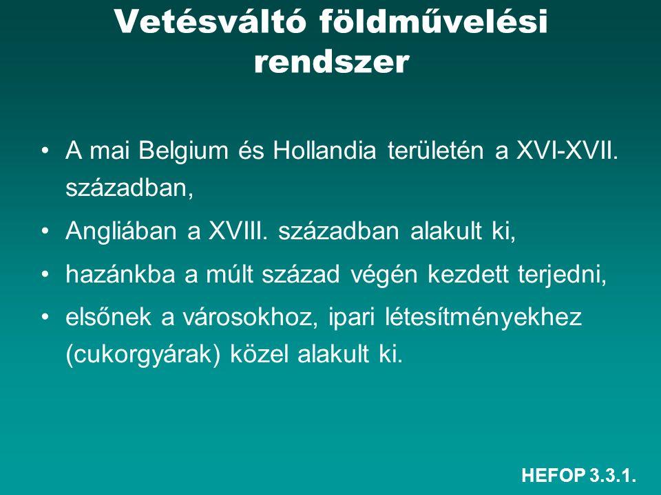 HEFOP 3.3.1. Vetésváltó földművelési rendszer A mai Belgium és Hollandia területén a XVI-XVII. században, Angliában a XVIII. században alakult ki, haz