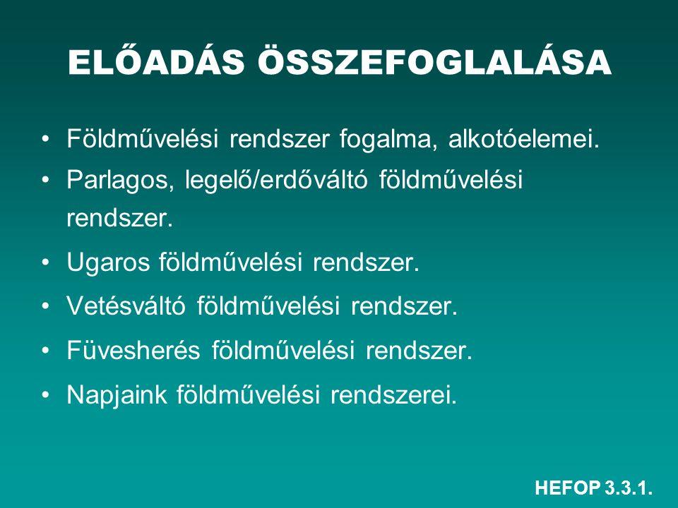 HEFOP 3.3.1. ELŐADÁS ÖSSZEFOGLALÁSA Földművelési rendszer fogalma, alkotóelemei. Parlagos, legelő/erdőváltó földművelési rendszer. Ugaros földművelési