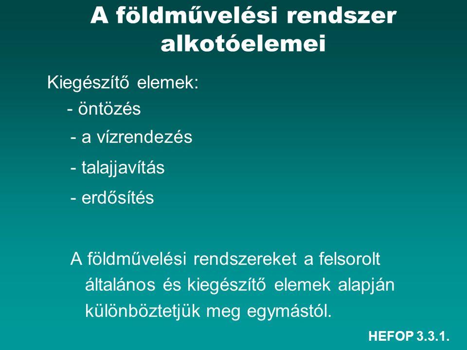 HEFOP 3.3.1. A földművelési rendszer alkotóelemei Kiegészítő elemek: - öntözés - a vízrendezés - talajjavítás - erdősítés A földművelési rendszereket