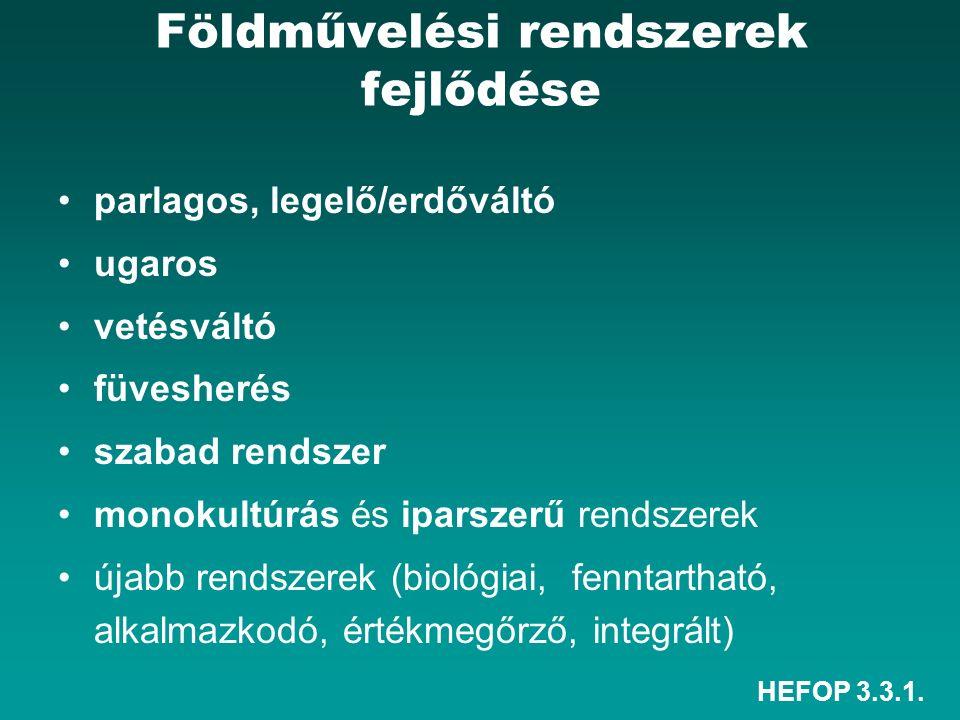 HEFOP 3.3.1. Földművelési rendszerek fejlődése parlagos, legelő/erdőváltó ugaros vetésváltó füvesherés szabad rendszer monokultúrás és iparszerű rends
