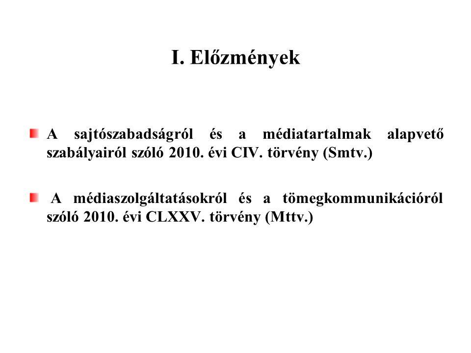 I. Előzmények A sajtószabadságról és a médiatartalmak alapvető szabályairól szóló 2010. évi CIV. törvény (Smtv.) A médiaszolgáltatásokról és a tömegko