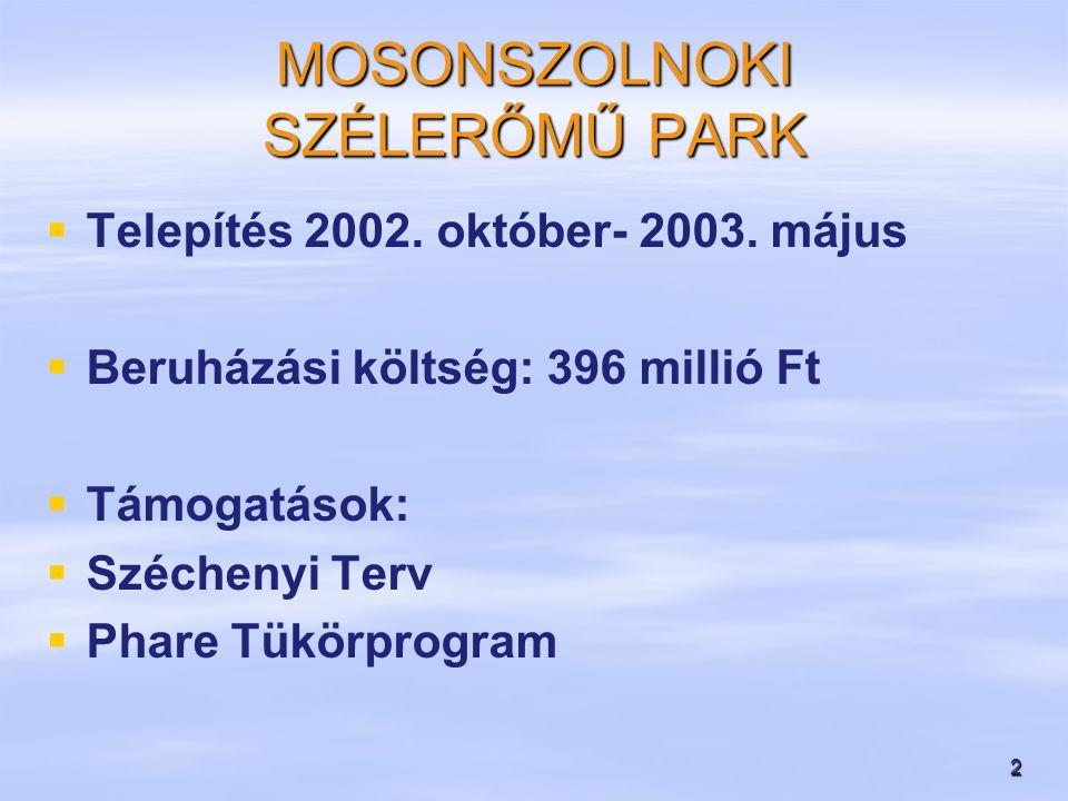 2 MOSONSZOLNOKI SZÉLERŐMŰ PARK   Telepítés 2002.