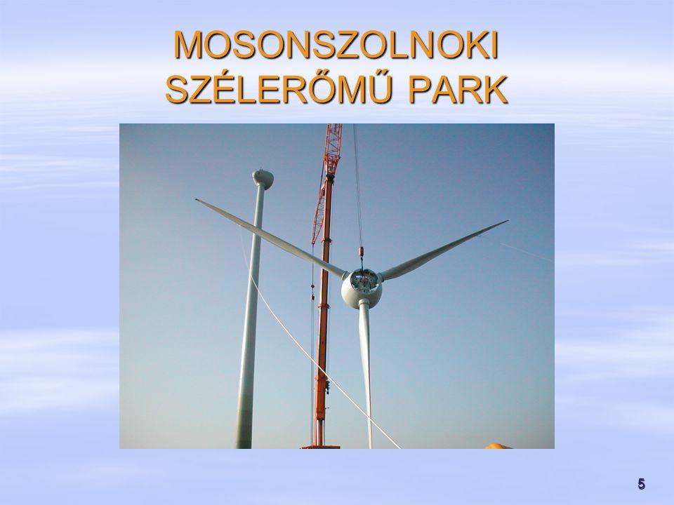 6   Műszaki jellemzők:   Típus: Enercon E-40   Teljesítmény:2 x 600 kW   Acéltorony magasság:65 m   Rotor átmérő:44 m   Villamos csatlakozás:20 kV   Üzemvitel, felügyelet: modemes kapcsolat   Működési szélsebesség tartomány: 2,5-25 m/s MOSONSZOLNOKI SZÉLERŐMŰ PARK