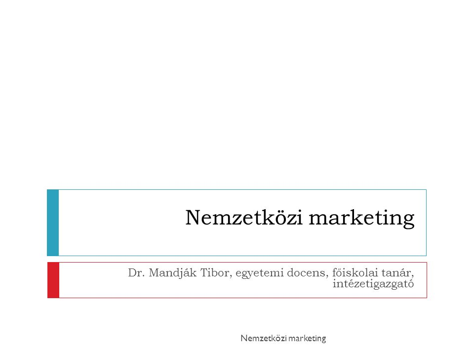 Nemzetközi marketing Dr.