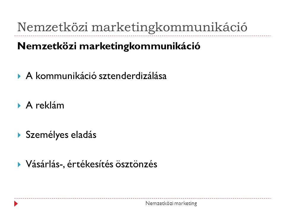 Nemzetközi marketingkommunikáció Nemzetközi marketingkommunikáció AA kommunikáció sztenderdizálása AA reklám SSzemélyes eladás VVásárlás-, értékesítés ösztönzés Nemzetközi marketing