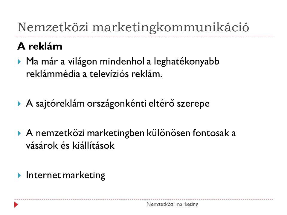 Nemzetközi marketingkommunikáció A reklám MMa már a világon mindenhol a leghatékonyabb reklámmédia a televíziós reklám.
