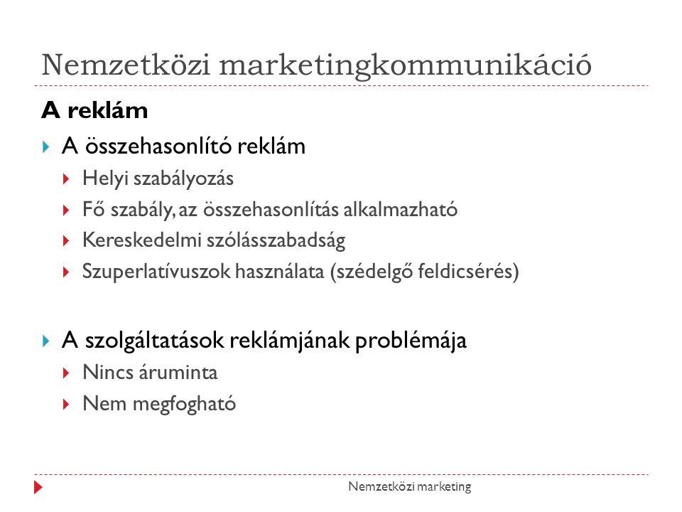 Nemzetközi marketingkommunikáció A reklám AA összehasonlító reklám HHelyi szabályozás FFő szabály, az összehasonlítás alkalmazható KKereskedelmi szólásszabadság SSzuperlatívuszok használata (szédelgő feldicsérés) AA szolgáltatások reklámjának problémája NNincs áruminta NNem megfogható Nemzetközi marketing
