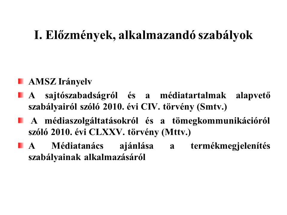 I. Előzmények, alkalmazandó szabályok AMSZ Irányelv A sajtószabadságról és a médiatartalmak alapvető szabályairól szóló 2010. évi CIV. törvény (Smtv.)