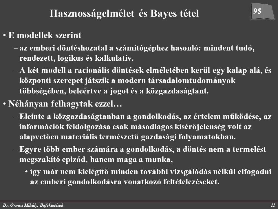 Dr. Ormos Mihály, Befektetések11 Hasznosságelmélet és Bayes tétel E modellek szerint –az emberi döntéshozatal a számítógéphez hasonló: mindent tudó, r
