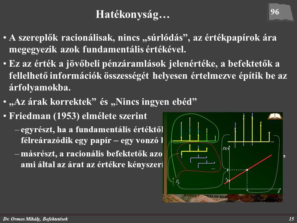 """Dr. Ormos Mihály, Befektetések15 Hatékonyság… A szereplők racionálisak, nincs """"súrlódás"""", az értékpapírok ára megegyezik azok fundamentális értékével."""