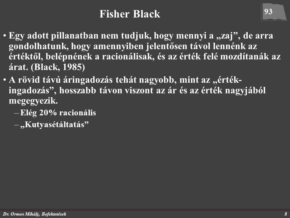 """Dr. Ormos Mihály, Befektetések8 Fisher Black Egy adott pillanatban nem tudjuk, hogy mennyi a """"zaj"""", de arra gondolhatunk, hogy amennyiben jelentősen t"""