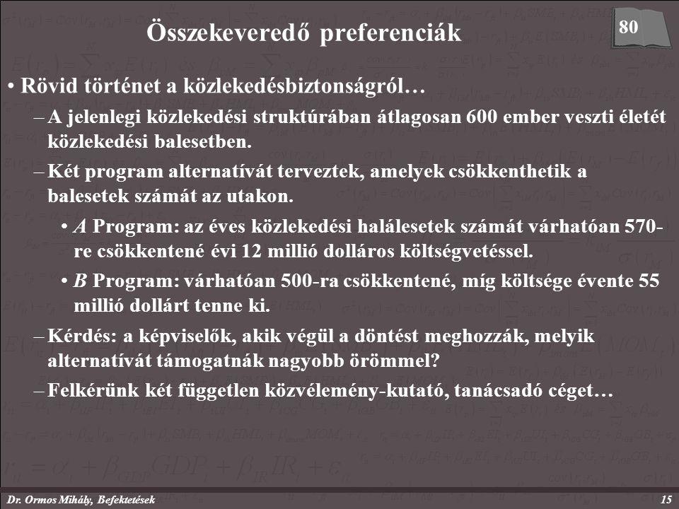 Dr. Ormos Mihály, Befektetések15 Összekeveredő preferenciák Rövid történet a közlekedésbiztonságról… –A jelenlegi közlekedési struktúrában átlagosan 6