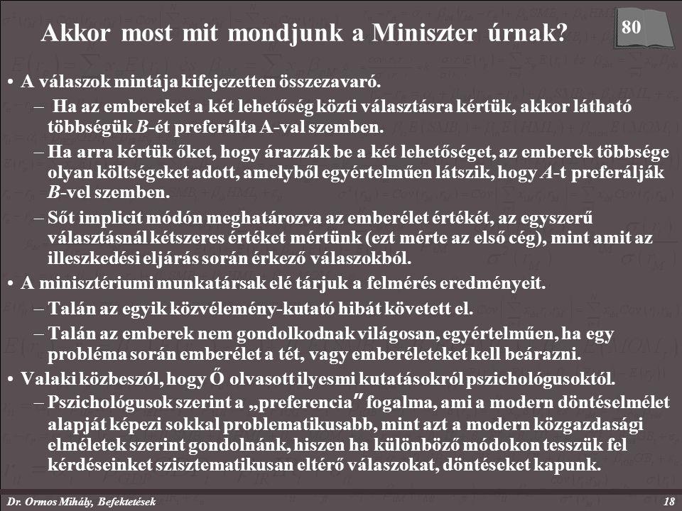 Dr. Ormos Mihály, Befektetések18 Akkor most mit mondjunk a Miniszter úrnak.
