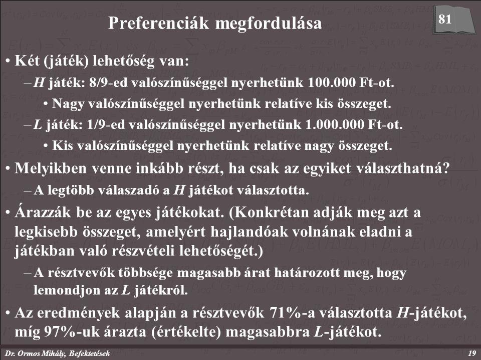 Dr. Ormos Mihály, Befektetések19 Preferenciák megfordulása Két (játék) lehetőség van: –H játék: 8/9-ed valószínűséggel nyerhetünk 100.000 Ft-ot. Nagy