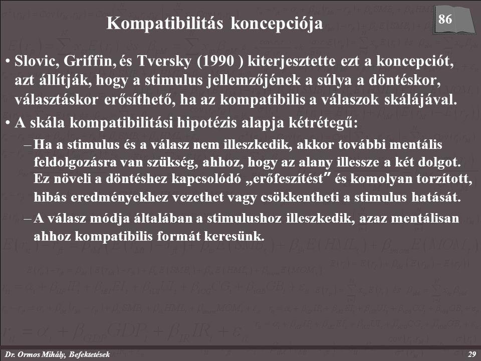 Dr. Ormos Mihály, Befektetések29 Kompatibilitás koncepciója Slovic, Griffin, és Tversky (1990 ) kiterjesztette ezt a koncepciót, azt állítják, hogy a