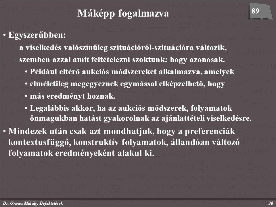 Dr. Ormos Mihály, Befektetések38 Máképp fogalmazva Egyszerűbben: –a viselkedés valószínűleg szituációról-szituációra változik, –szemben azzal amit fel