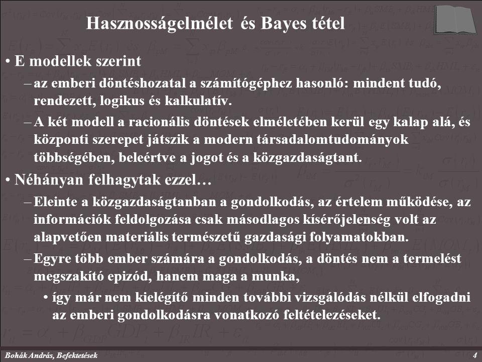 Bohák András, Befektetések4 Hasznosságelmélet és Bayes tétel E modellek szerint –az emberi döntéshozatal a számítógéphez hasonló: mindent tudó, rendezett, logikus és kalkulatív.