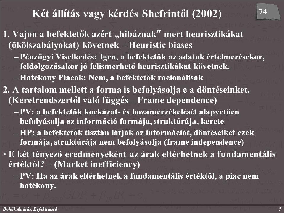 Bohák András, Befektetések7 Két állítás vagy kérdés Shefrintől (2002) 1.