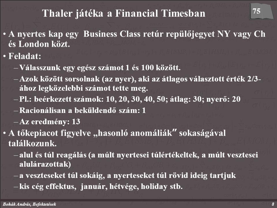 Bohák András, Befektetések8 Thaler játéka a Financial Timesban A nyertes kap egy Business Class retúr repülőjegyet NY vagy Ch és London közt.