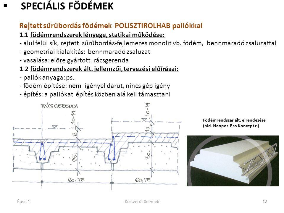 Épsz. 1Korszerű födémek12  SPECIÁLIS FÖDÉMEK Rejtett sűrűbordás födémek POLISZTIROLHAB pallókkal 1.1 födémrendszerek lényege, statikai működése: - al