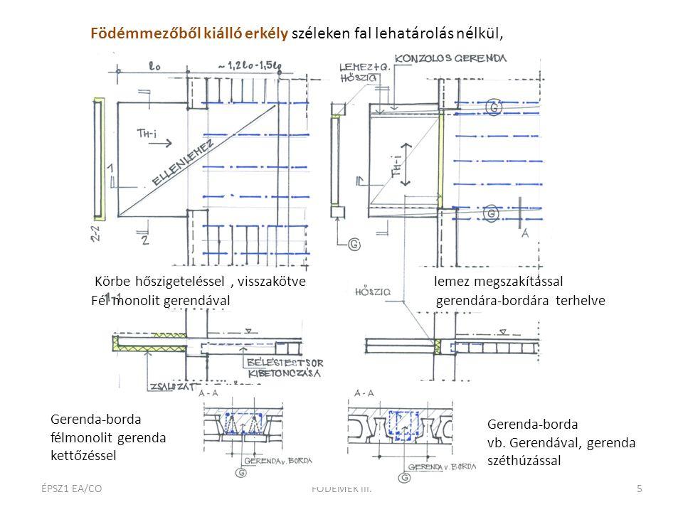 - ÉPSZ1 EA/COFÖDÉMEK III.5 Födémmezőből kiálló erkély széleken fal lehatárolás nélkül, Körbe hőszigeteléssel, visszakötve lemez megszakítással Fél mon
