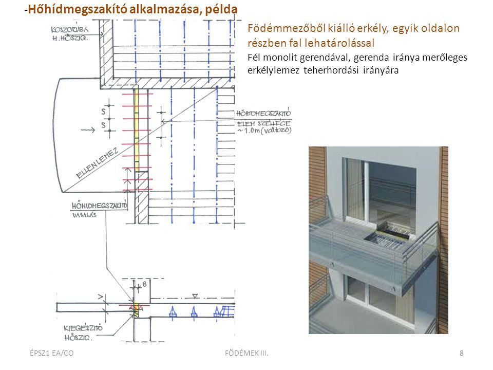 ÉPSZ1 EA/COFÖDÉMEK III.8 Födémmezőből kiálló erkély, egyik oldalon részben fal lehatárolással Fél monolit gerendával, gerenda iránya merőleges erkélylemez teherhordási irányára - Hőhídmegszakító alkalmazása, példa
