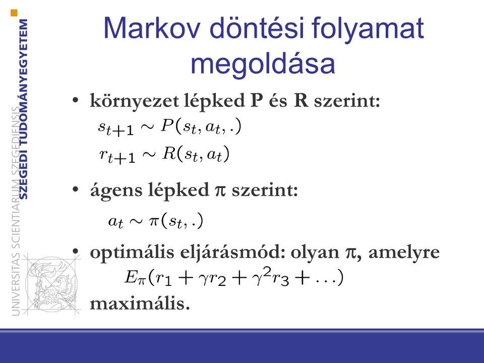 Markov döntési folyamat megoldása környezet lépked P és R szerint: ágens lépked  szerint: optimális eljárásmód: olyan , amelyre maximális.