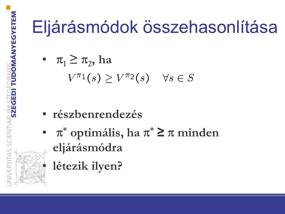 Eljárásmódok összehasonlítása  1 ≥  2, ha részbenrendezés  * optimális, ha  * ≥  minden eljárásmódra létezik ilyen?