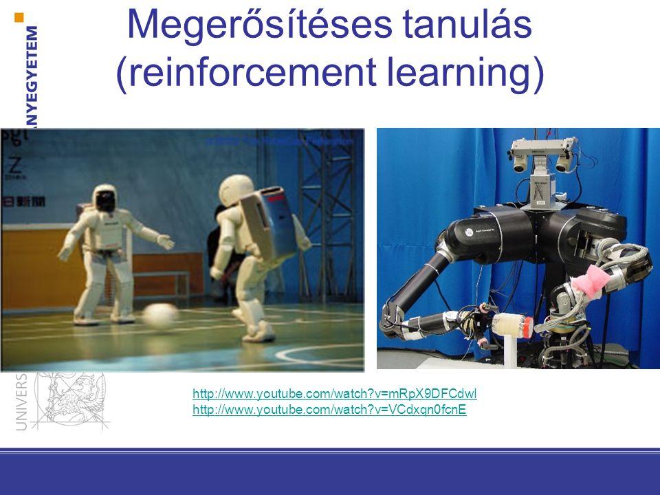 Megerősítéses tanulás (reinforcement learning) http://www.youtube.com/watch?v=mRpX9DFCdwI http://www.youtube.com/watch?v=VCdxqn0fcnE