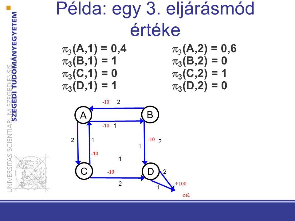 Példa: egy 3. eljárásmód értéke   (A,1) = 0,4   (A,2) = 0,6  3 (B,1) = 1  3 (B,2) = 0  3 (C,1) = 0  3 (C,2) = 1  3 (D,1) = 1  3 (D,2) = 0 A