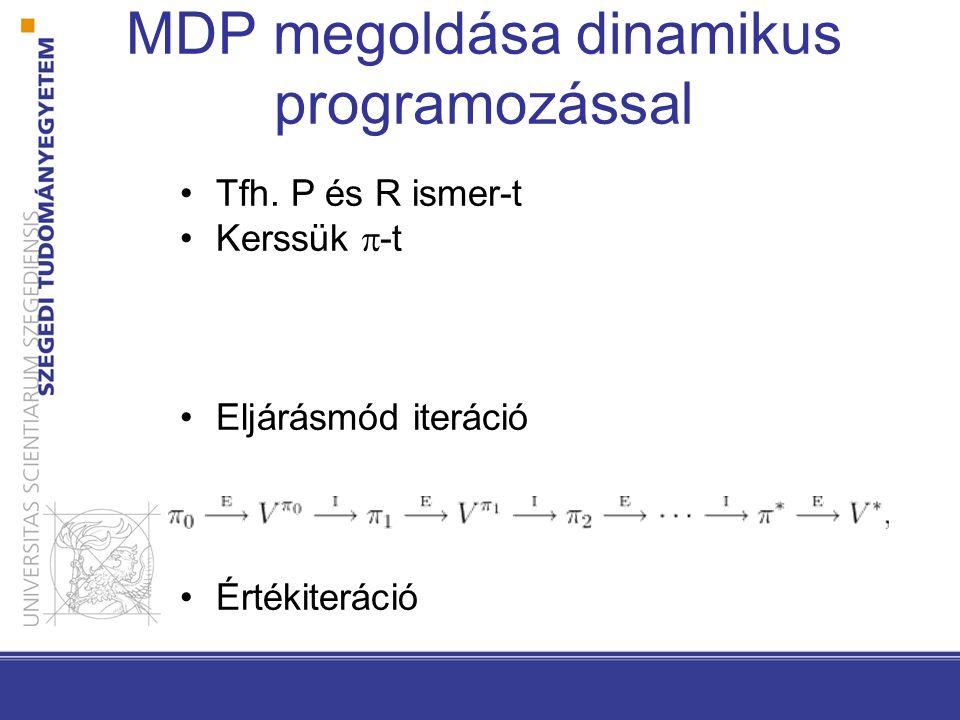 MDP megoldása dinamikus programozással Tfh. P és R ismer-t Kerssük  -t Eljárásmód iteráció Értékiteráció