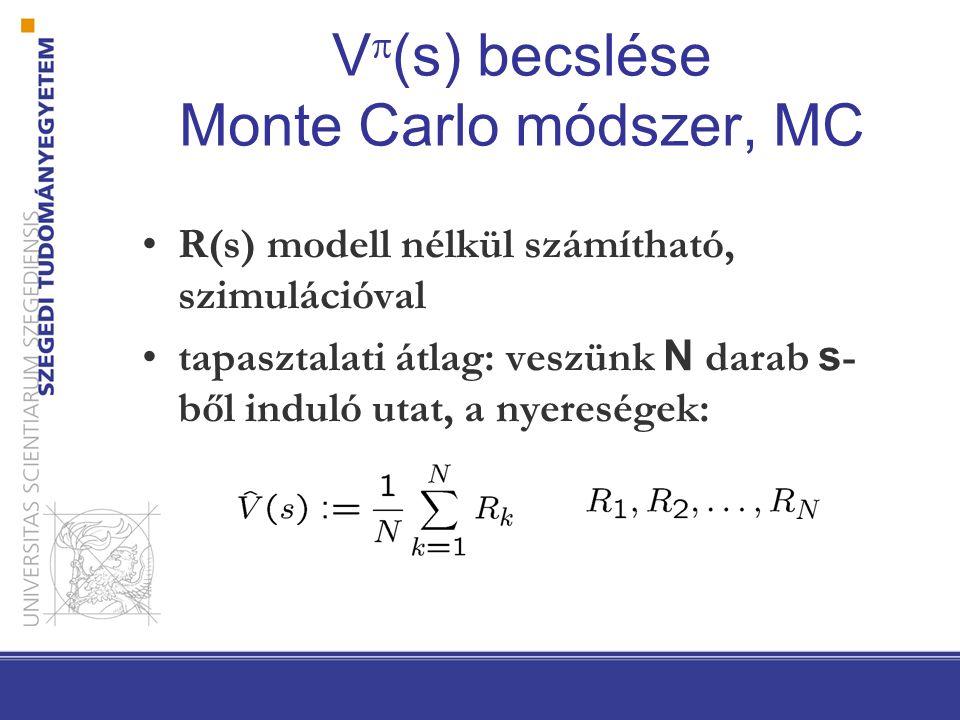 V  (s) becslése Monte Carlo módszer, MC R(s) modell nélkül számítható, szimulációval tapasztalati átlag: veszünk N darab s - ből induló utat, a nyere