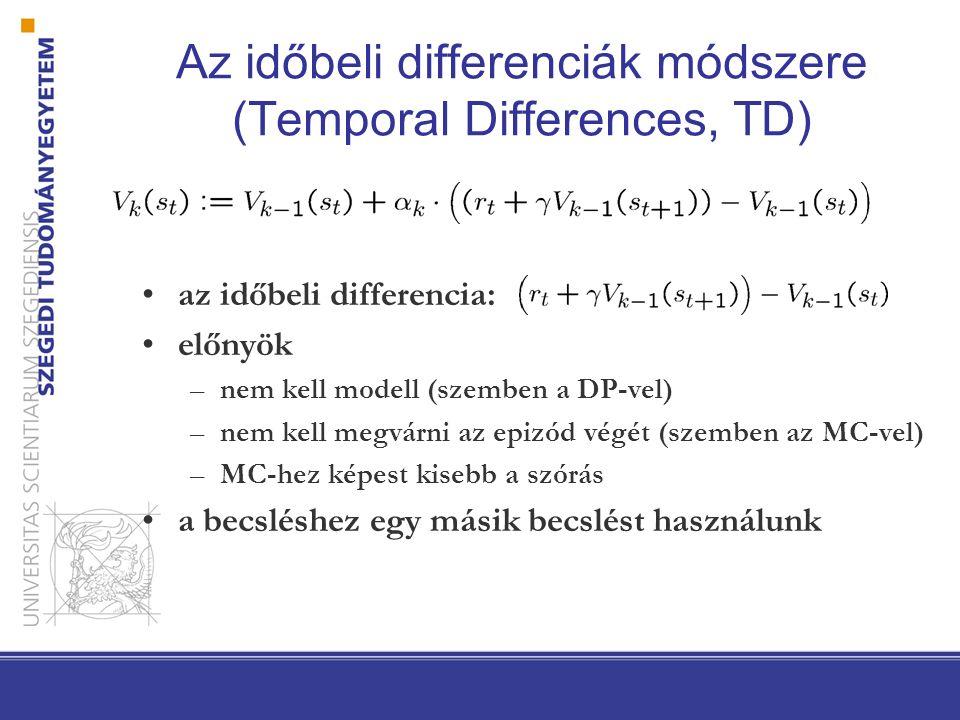 Az időbeli differenciák módszere (Temporal Differences, TD) az időbeli differencia: előnyök –nem kell modell (szemben a DP-vel) –nem kell megvárni az