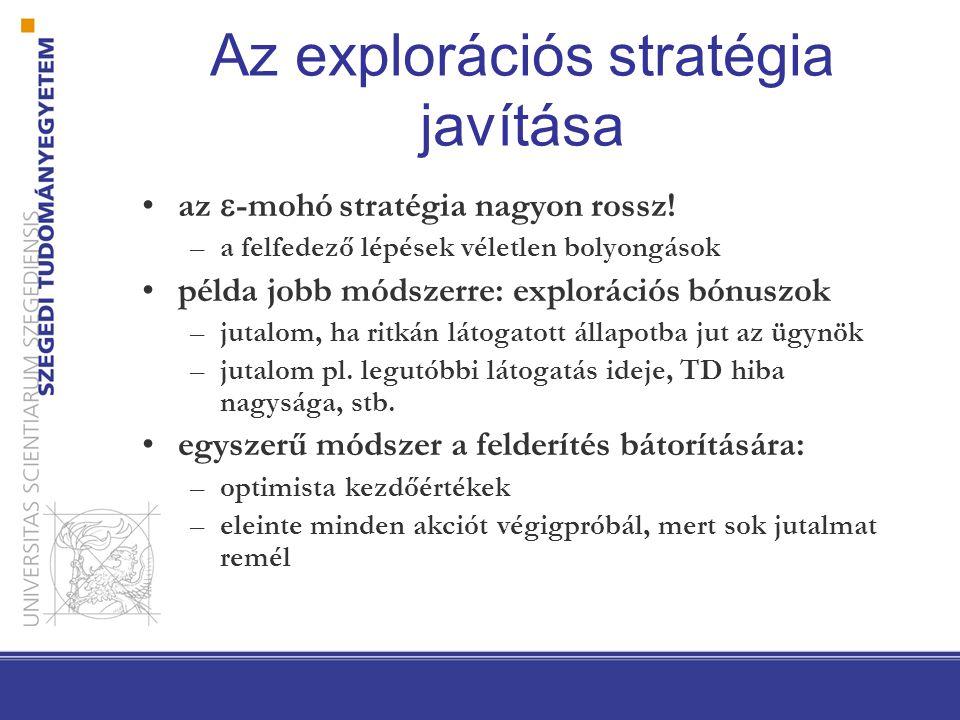 Az explorációs stratégia javítása az  -mohó stratégia nagyon rossz! –a felfedező lépések véletlen bolyongások példa jobb módszerre: explorációs bónus